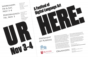 Poster for UR Here: A Festival of Digital Language Art